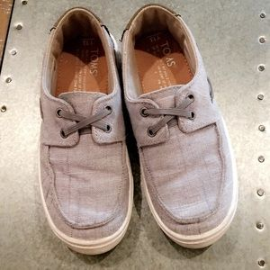 Slip on grey chambray culver boat shoes by TOMS